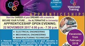 Waterside Training Apprenticeship Programme - Open Evening 22.11.17