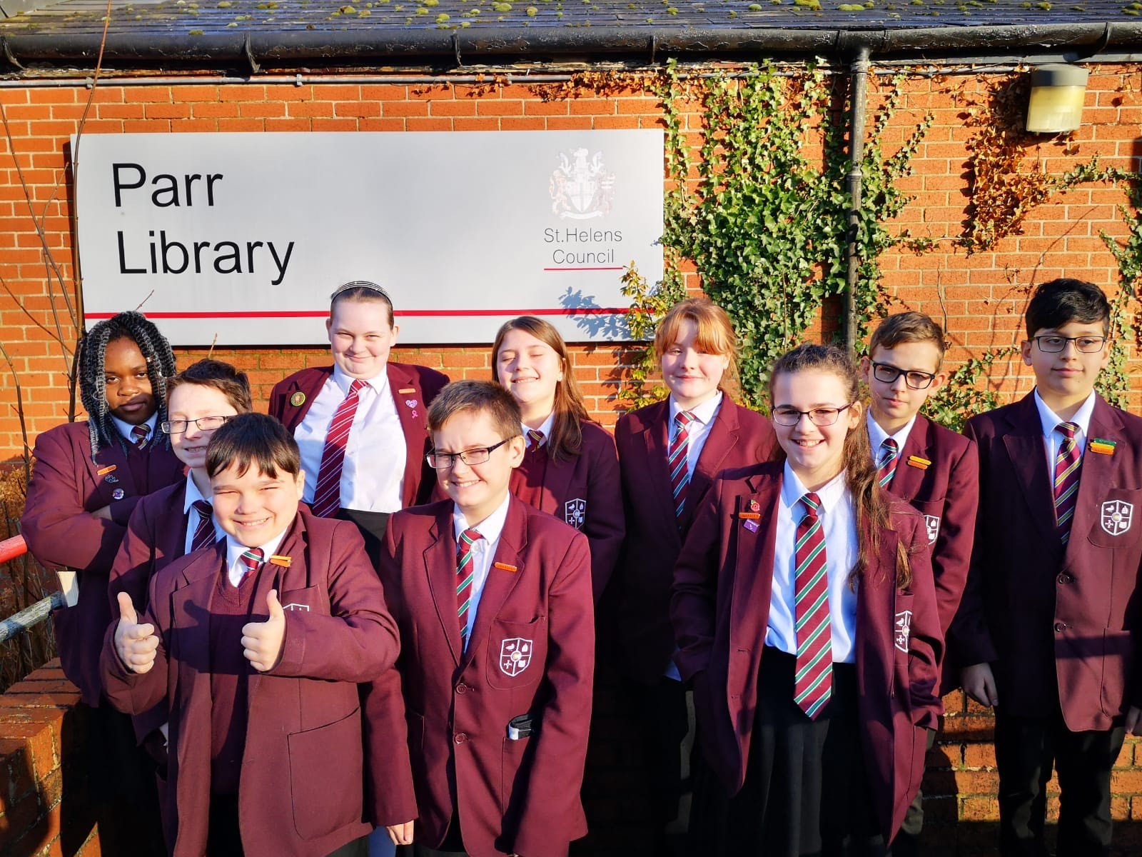 Our Library Ambassadors after their trip to Parr Library.